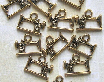 5 Sewing Machine Charms Antique  Gold Tone 2 Sided - GC038