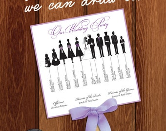 Silhouette Wedding Program Fan 2 - DIGITAL OR PRINTED with bow