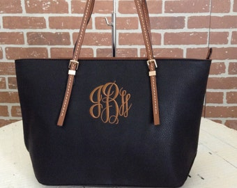 Monogram Purse Bag Tote/ Monogram Black Pocketbook, Black monogram purse/ Classic Black purse/ Designer Inspired Tote/ Leather purse