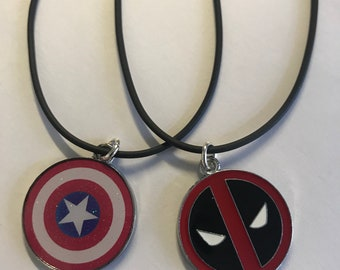 Childrens cord necklaces with character pendant, 16-18 inches long