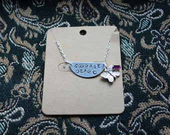 """Hand Stamped Necklace with Butterfly and Magenta glass Charms """"Courage Dear <3"""""""