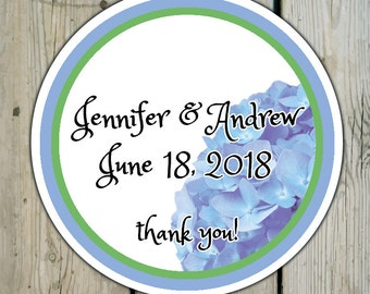 Round Custom Hydrangea Favor Labels / Stickers - Blue Hydrangea - Personalized Hydrangea Wedding Favor Stickers / Shower Labels / Birthday