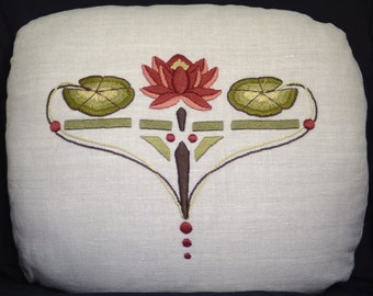 Water Lily Pillow Embroidery Kit Craftsman Mission Style