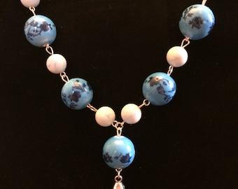 Blue Fleur de Lis Necklace
