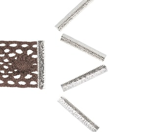 16 pieces  38mm or 1  1/2 inch - Platinum Silver No Loop Ribbon Clamp End Crimps - Artisan Series