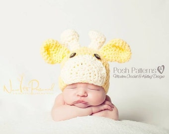 Crochet PATTERN - Crochet Hat Pattern - Giraffe Hat Crochet Pattern - Crochet Patterns - Baby, Toddler, Child, Kids, Adult Sizes - PDF 175