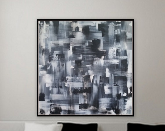 "Large original abstract black and white painting 36"" x 36"" x 1.5"" deep gallery wrapped wood frame ready to hang large wall art large"