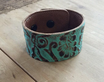 Leather bracelet, tooled leather, cowhide bracelet, rustic, western, cowgirl
