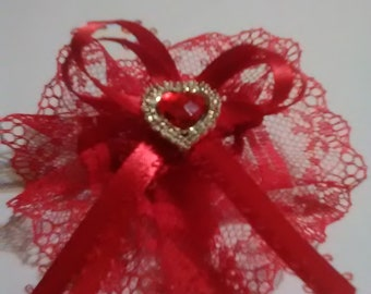 Set of 2- Red Lace & Sparkly Red Heart Hair Bows for Little Girls- Made in Iowa