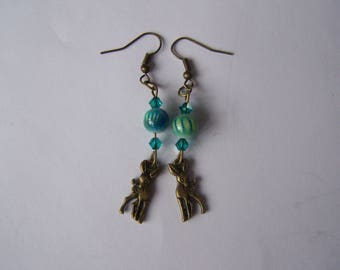 bronze deer earrings