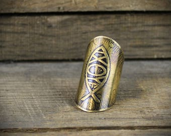 Warriors Shield - Armor Ring - Etched Brass Ichthus Ring - Armor Knuckle Ring - Saddle Ring -  MADE TO ORDER