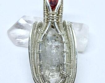 Herkimer diamond, garnet and aquamarine