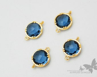 F110-G-BT// Gold Plated Framed Blue Topez Glass Stone Connector, 2Pc