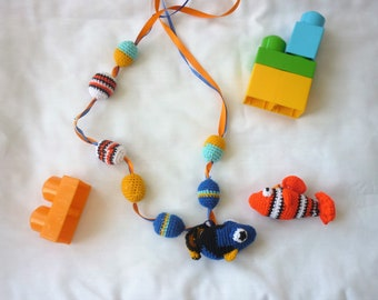 MauToys lactation necklace, teething necklace, breastfeeding necklaces, teething necklaces. Fish models. Double Rattle