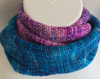 Handwoven Scarf | Blues Magenta Purples | Faded Scarf | One Of A Kind | Unique Scarf | Soft And Luxurious Scarf | Gift For Her | Unique Gift