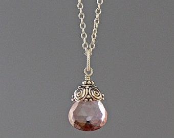 Pink Quartz Pendant - Pink Gemstone Necklace - Single Stone Necklace - Mystic Quartz Crystal - Bali Silver Pendant - Wire Wrapped Pendant