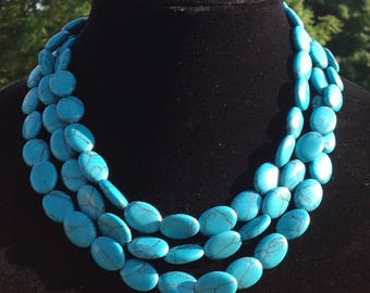 Turquoise Multi Stranded Beaded Necklace