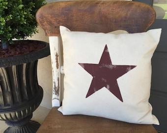 Throw Pillows/Star/Star Pillow/Star Burlap Pillow/Western Star/Western Decor/Texas Star/Rustic Star