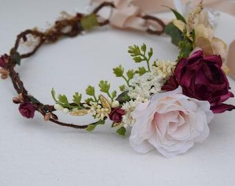 Blush, Burgundy & Gold Flower Crown - Blush Flower Girl Crown - Photo Prop - Bridal Flower Crown- Blush Hair Wreath - Pink Baby Flower Crown