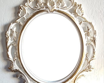 SALE Large White Gold Wall Mirror/ Ornate Mirrors/ Baroque Mirror/ Shabby Chic Mirror/Hollywood Regency Mirror Bathroom Bedroom Nursery