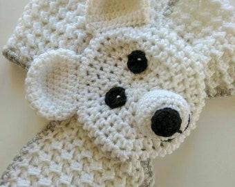 Crochet Animal Scarf, Polar Bear Scarf, Adjustable Scarf, Crochet Baby, Winter Scarf, Neck Warmer, Handmade Scarf, Birthday Gift Scarf