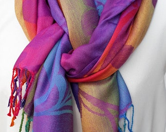 Purple Flower Rainbow Rosie Pashmina