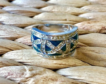 Designer inspired turquoise design sterling silver ring