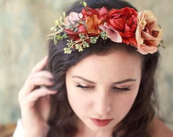 Fall flower crown, vibrant floral headpiece, autumn hair wreath, flower circlet, fall hair accessories, woodland hair crown, rustic weddings