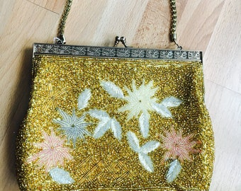 Micro Beaded Floral yellow square Purse evening purse clutch