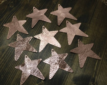 Star Shaped Hammered Copper Christmas Ornament