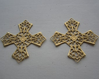 Raw Brass Ornate Gothic Filigree Crosses Stampings 2Pcs.