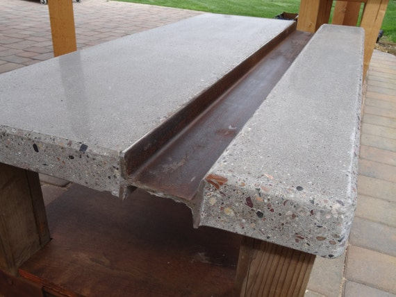 Polished Concrete Coffee Table With Steel I Beam