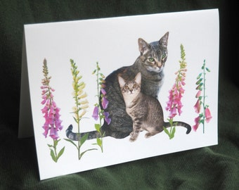 Cats in Foxgloves Printable Card, Printable Mother's Day Card,Cat and Kitten in Flowers PrintableCard