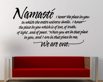 Namaste We Are One Yoga Quote Saying Wall Decal Sticker Vinyl Mural Leaving Bedroom Room Home Decor FREE SHIPPING L311