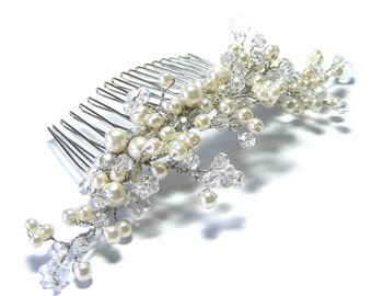 Bridal pearl and crystal hair combs, Pearl bridal hair comb, Bridal hair comb, Pearl bridal hair comb, Bridal hair accessories, Hair jewelry