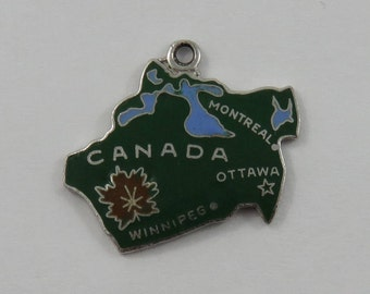 Map of Canada With Green Enamel Sterling Silver Vintage Charm For Bracelet