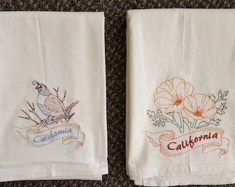 California State Bird Quail & State Flower California Poppy Flour Sack Towels