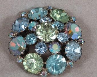 Vintage Aurora Borealis Blue and Green Rhinestone Weiss Brooch/Pin. Free Shipping