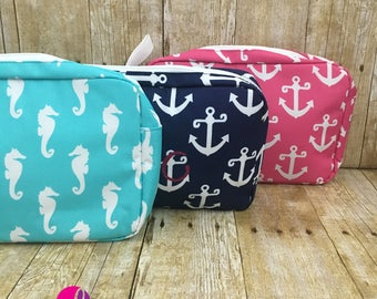 Monogrammed Cosmetic Bags - Available in Seahorse and Anchor Patterns