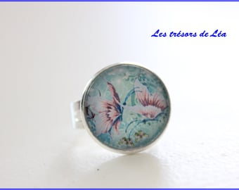 Pink Butterflies on blue silver adjustable cabochon ring