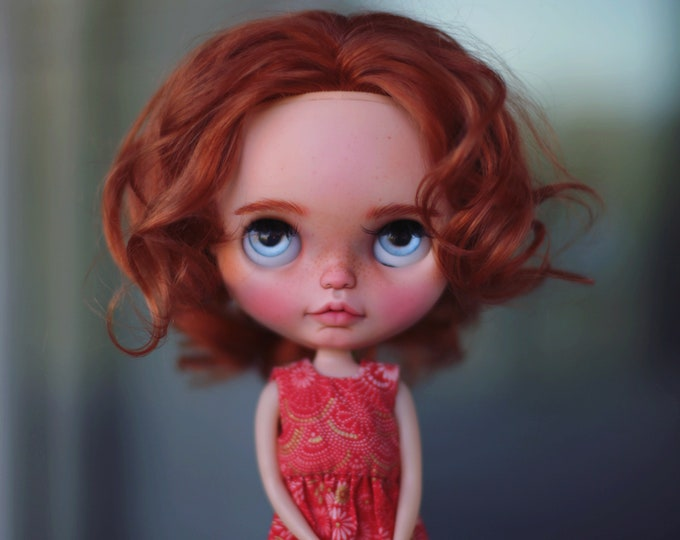 Ponyo ~ ooak custom Blythe doll Piccadilly Dolly base with natural mohair reroot