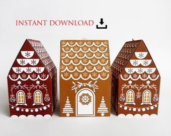 printable INSTANT DOWNLOAD gingerbread house christmas gift paper box resizable