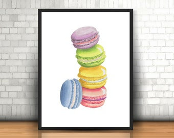 Macaron Art Print, French Macaron Art Print, Kitchen Decor, Kitchen Art Print, Bakery Art Print, Bakery Decor, Food Art
