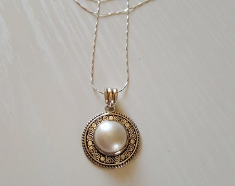 """18"""" Mabe Pearl Pendant Necklace   Mabe Pearl   925 Sterling   June Birthstone"""