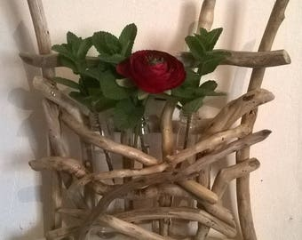 Driftwood and three bud vases stand