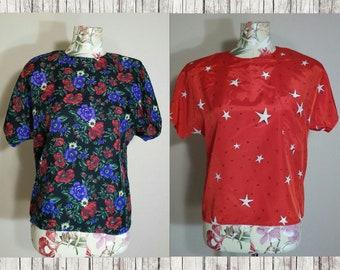 Set of 2 Vintage 80s Blouses Size S
