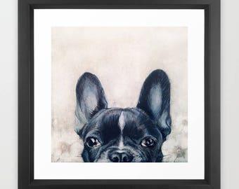 French Bulldog illustration Print With Frame