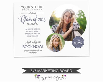 Senior Session Marketing Board - Template for Photographers - Digital Photoshop Template - 5x7 Photography Design - GCMS06