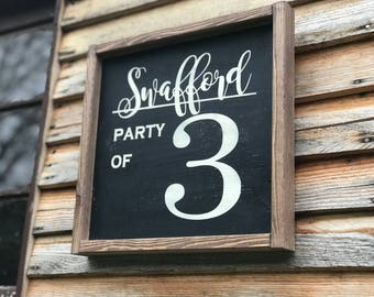 Party Of Wood Sign , Framed Party Of Wood Sign , Wooden Party Of Sign , Custom Party Of Sign ,