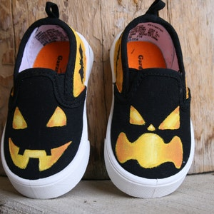Hand PAINTED HALLOWEEN SHOES, jack o lantern shoes, Baby/Toddler, Child/